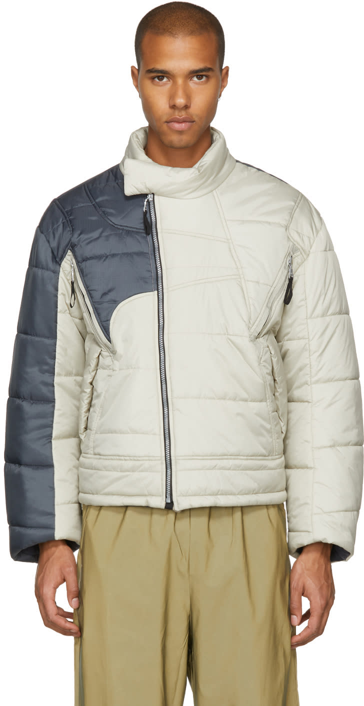 Image of Gmbh Beige and Grey Helly Hansen Edition Recycled Down Hans Jacket
