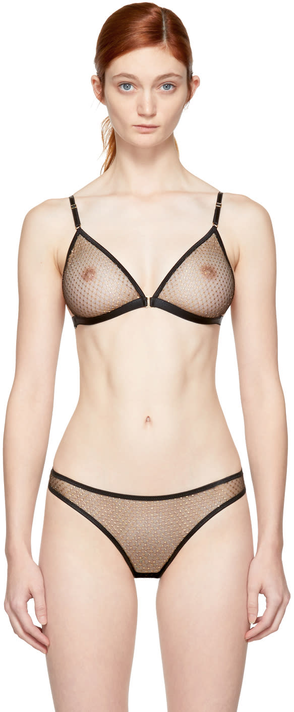 Image of Le Petit Trou Black and Gold Mesh Marion Bralette