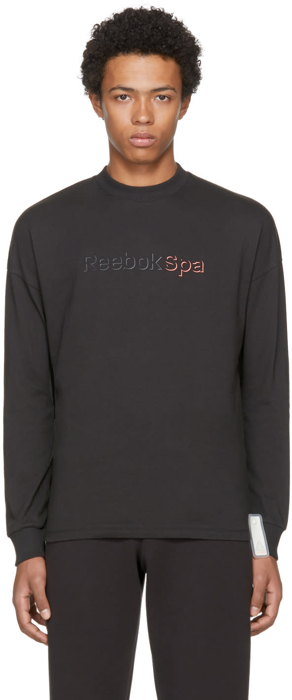 Image of Reebok × Cottweiler Black spa Long Sleeve Mock T-shirt
