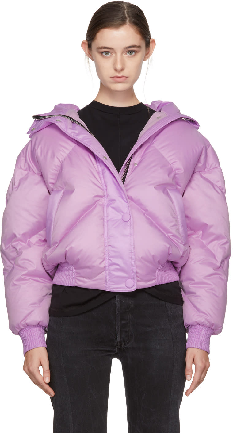Image of Ienki Ienki Purple Down Dunlop Short Hooded Jacket