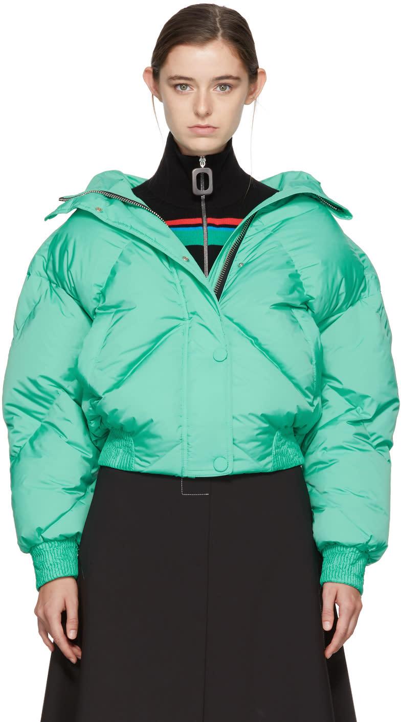 Image of Ienki Ienki Green Down Dunlop Short Hooded Jacket