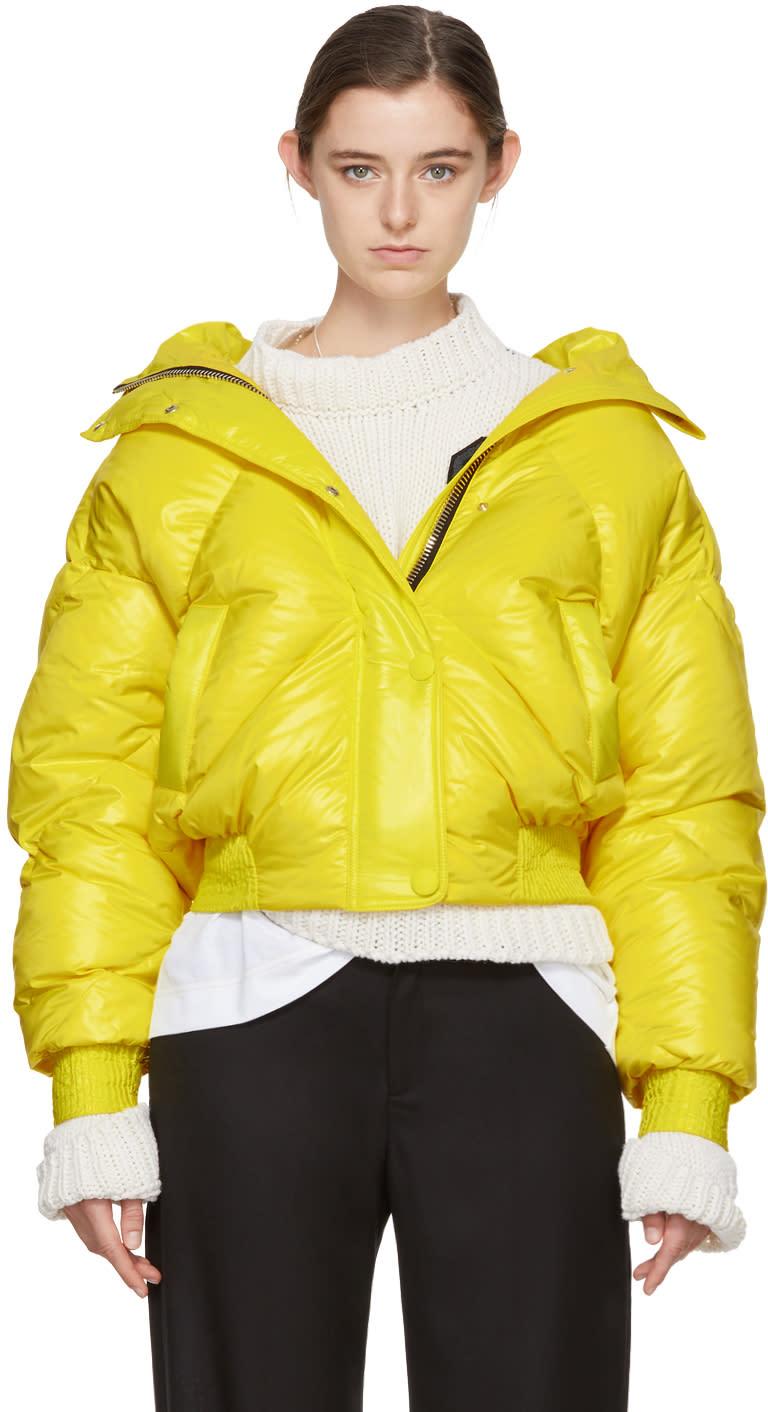 Image of Ienki Ienki Yellow Down Dunlop Short Hooded Jacket