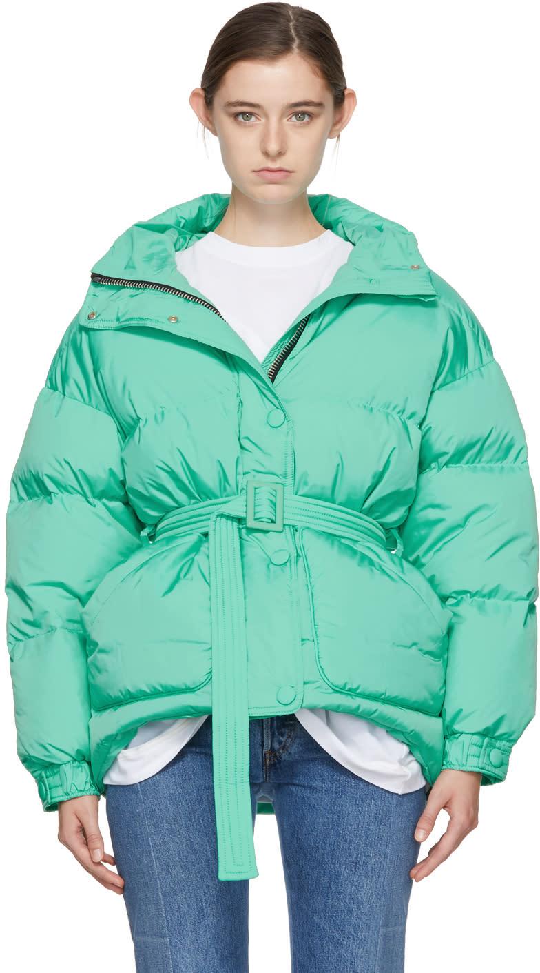 Image of Ienki Ienki Green Down Michelin Belted Hooded Jacket