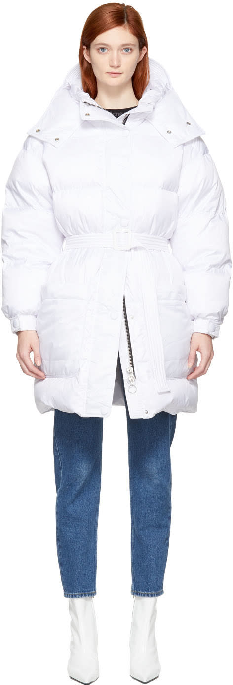 Image of Ienki Ienki White Down Killer Pockets Belted Coat