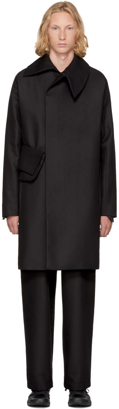 Image of Kiko Kostadinov Black Long Double-breasted Coat