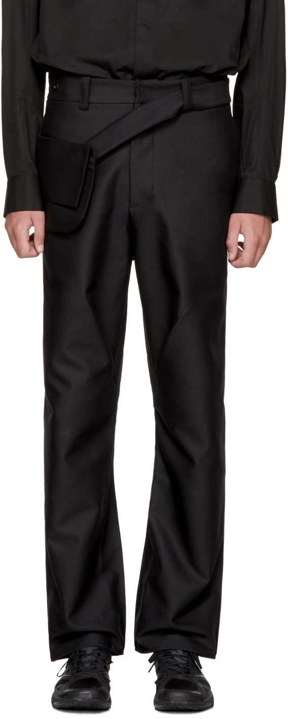 Image of Kiko Kostadinov Black 3d Double Pleat Bag Trousers