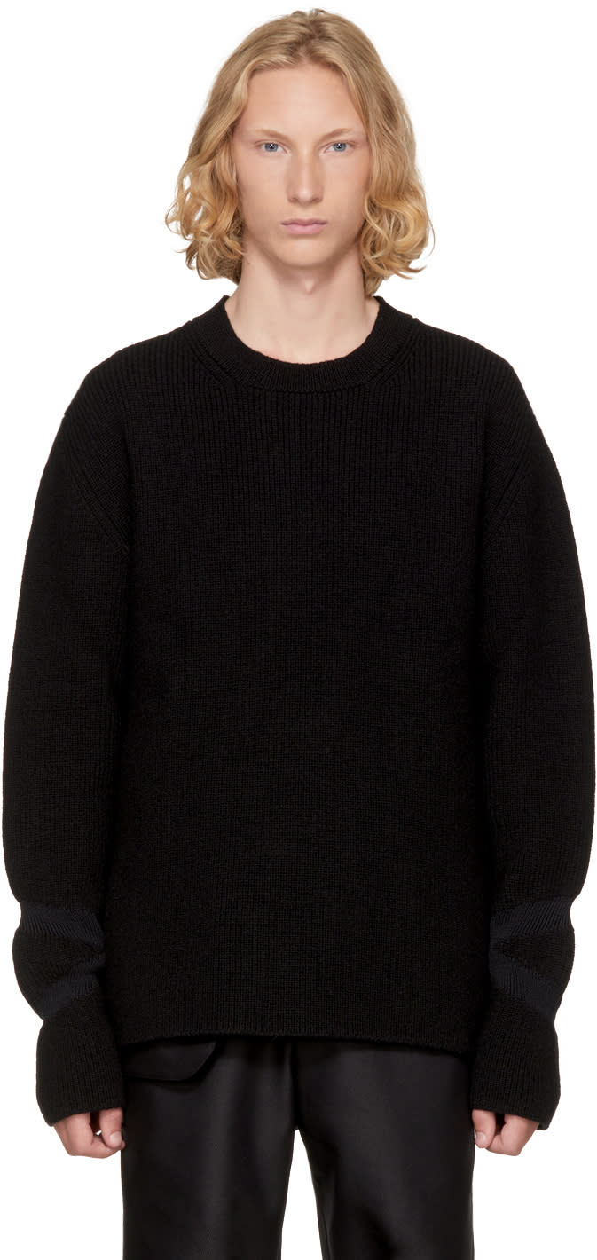 Image of Kiko Kostadinov Black Intarsia Cuff Sweater