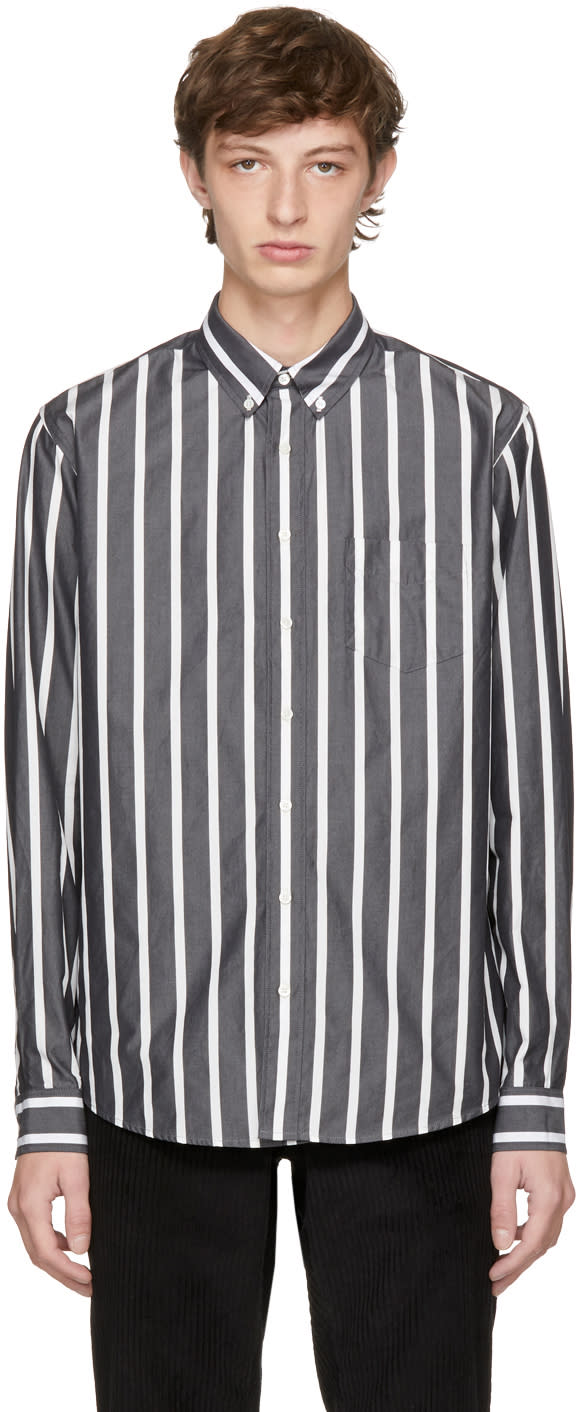 Image of Schnayderman's Black and White Bold Stripe Leisure Shirt