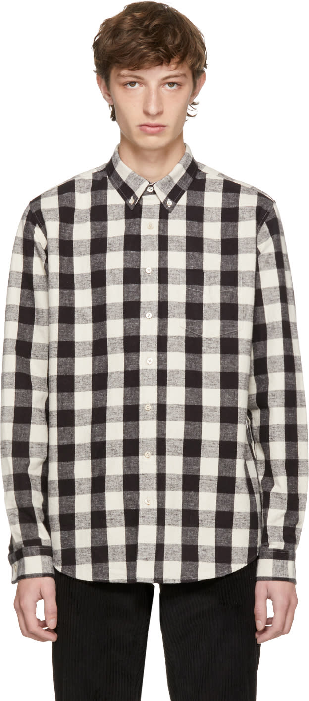 Image of Schnayderman's Black and Off-white Large Check Leisure Shirt