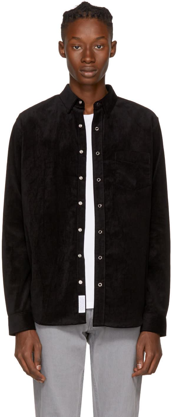 Image of Schnaydermans Ssense Exclusive Black Velvet Leisure Snap Shirt