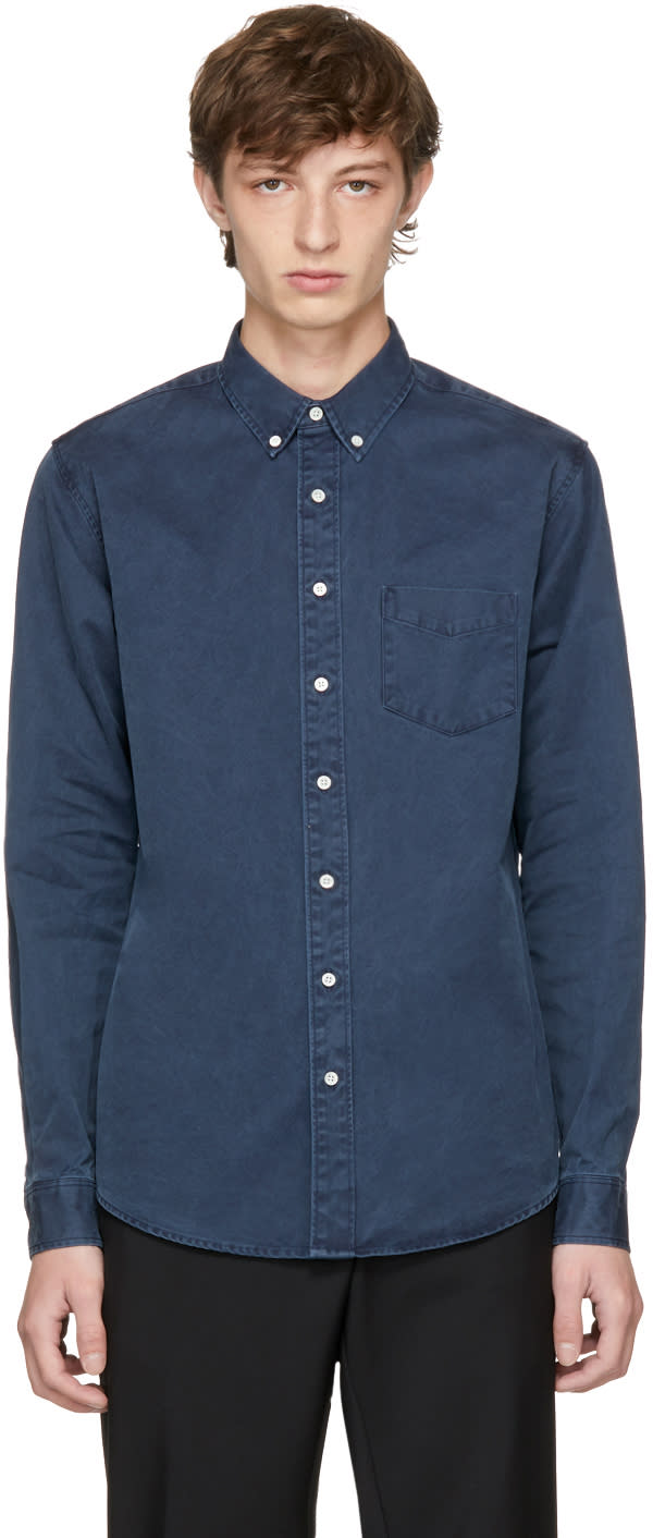 Image of Schnayderman's Navy Overdyed Leisure Shirt