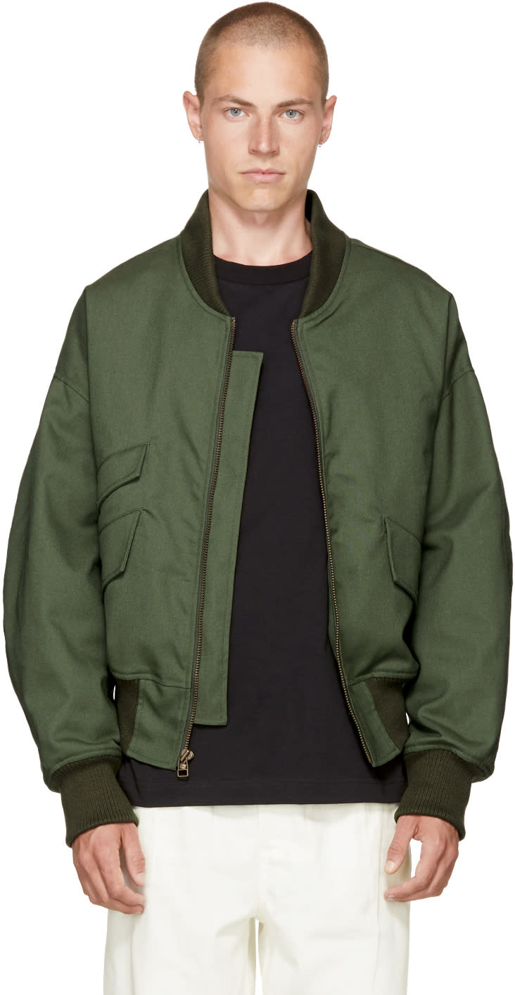 Image of Landlord Green Twill Bomber Jacket