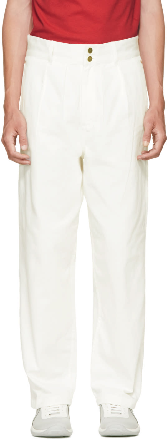 Image of Landlord White Denim Army Trousers