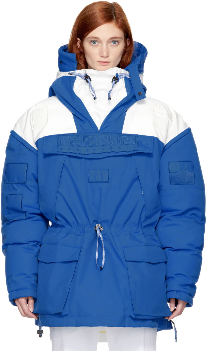 Image of Napa By Martine Rose White and Blue Skidoo Common Pullover Anorak