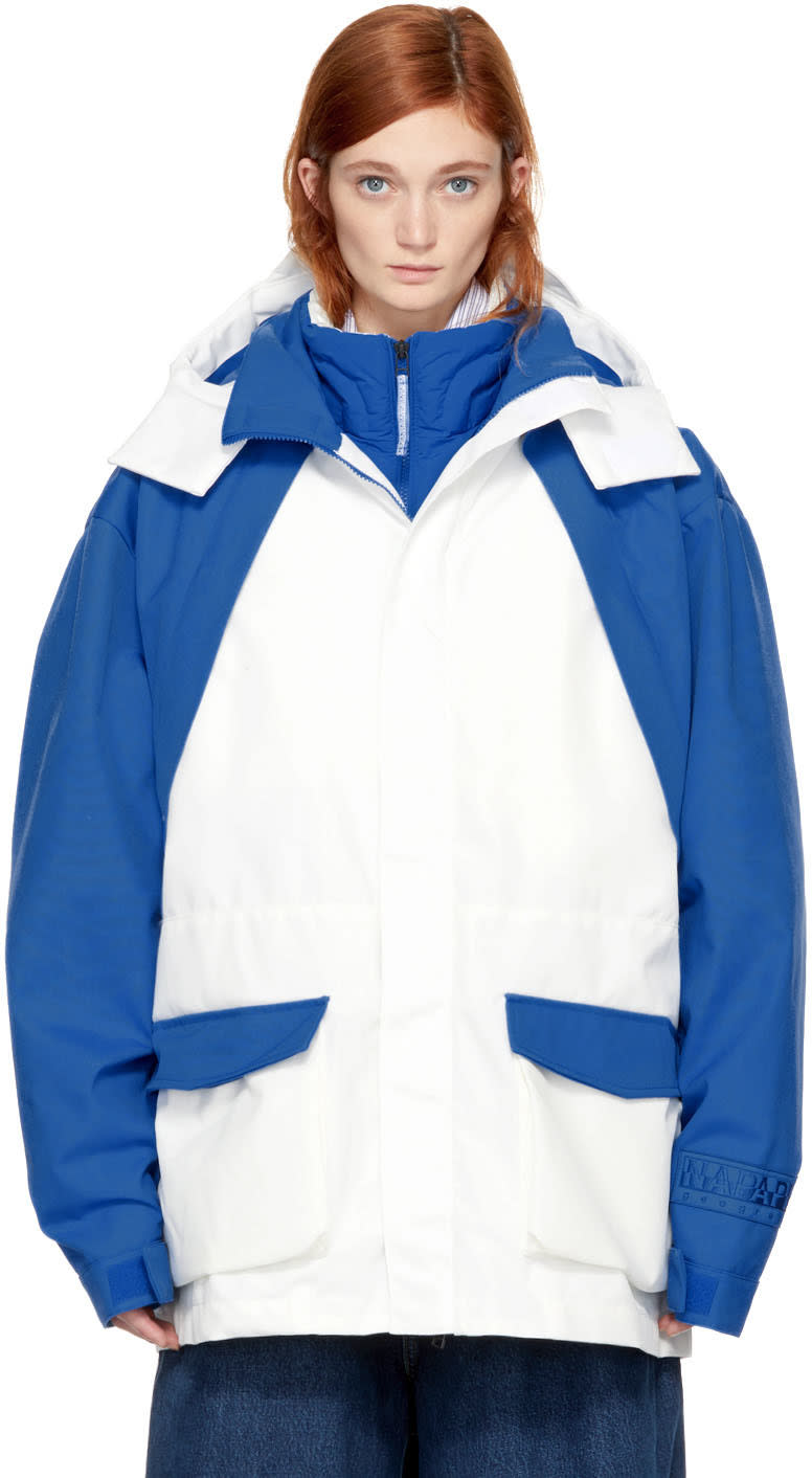 Image of Napa By Martine Rose Blue and White Rainforest Common Jacket
