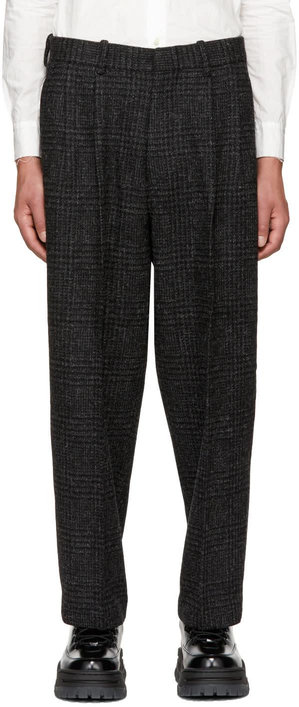 Image of N.hoolywood Black Check Harris Tweed Trousers