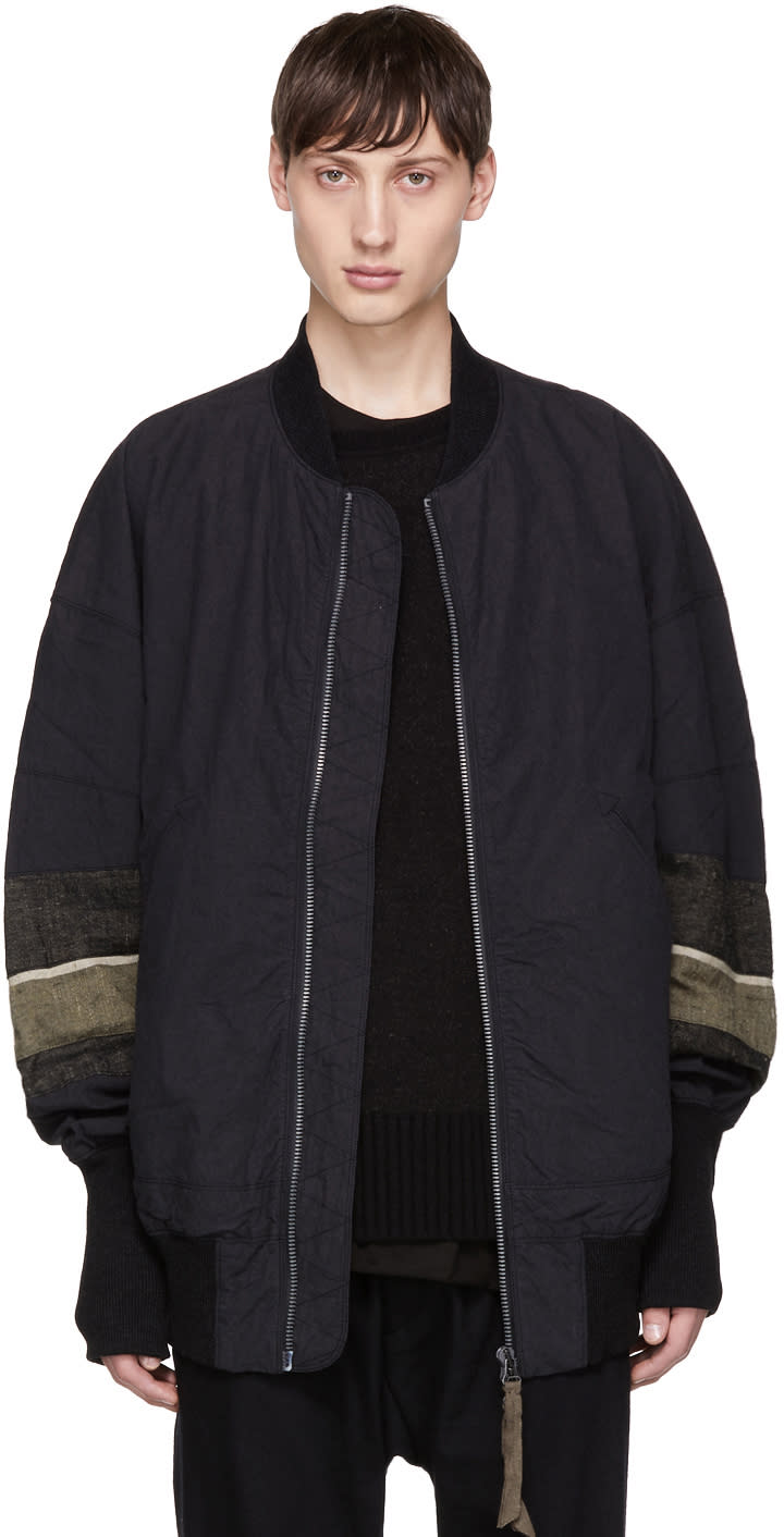 Image of Ziggy Chen Black Long Bomber Jacket