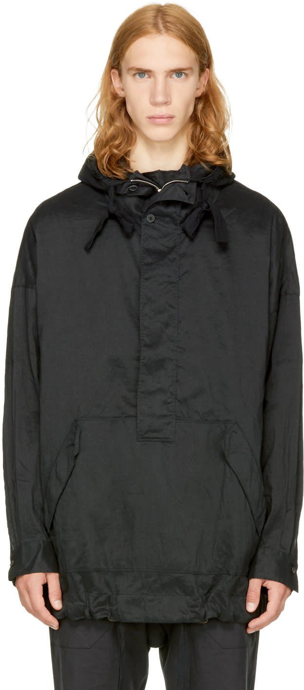 Image of Ziggy Chen Black Half-zip Pullover Jacket