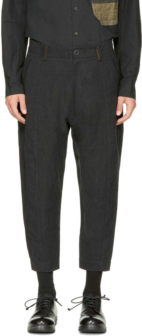 Image of Ziggy Chen Black Cropped Wide Trousers