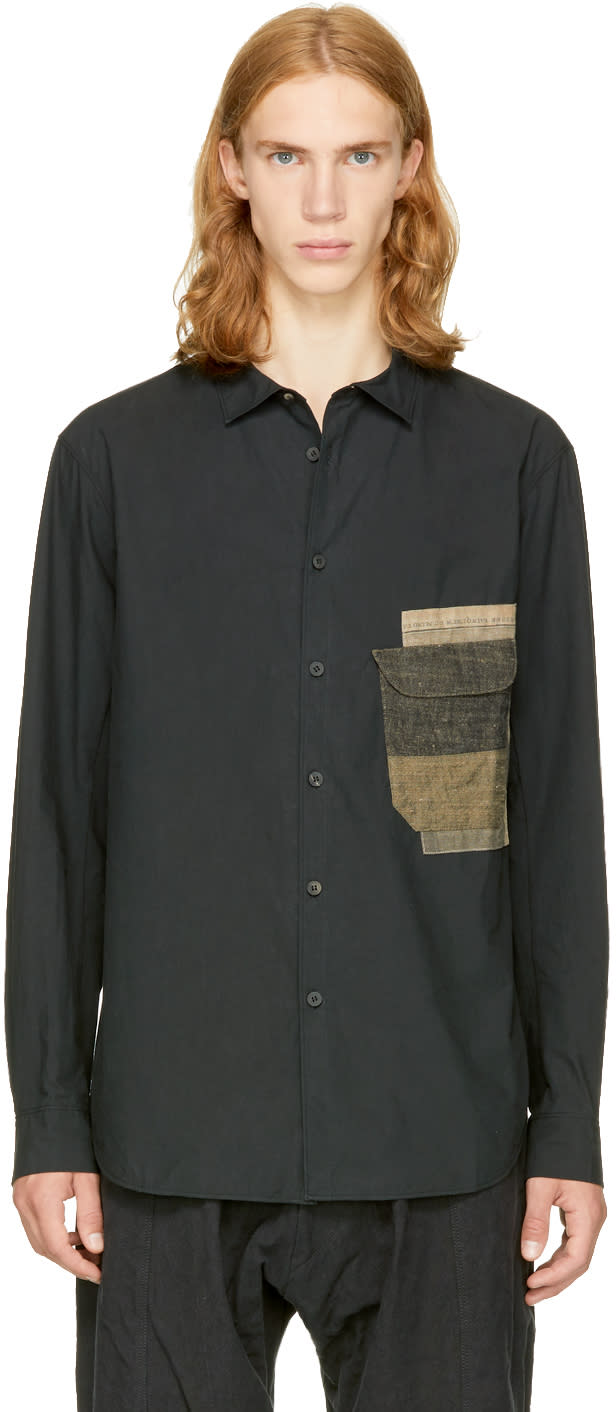 Image of Ziggy Chen Black Patch Pocket Shirt