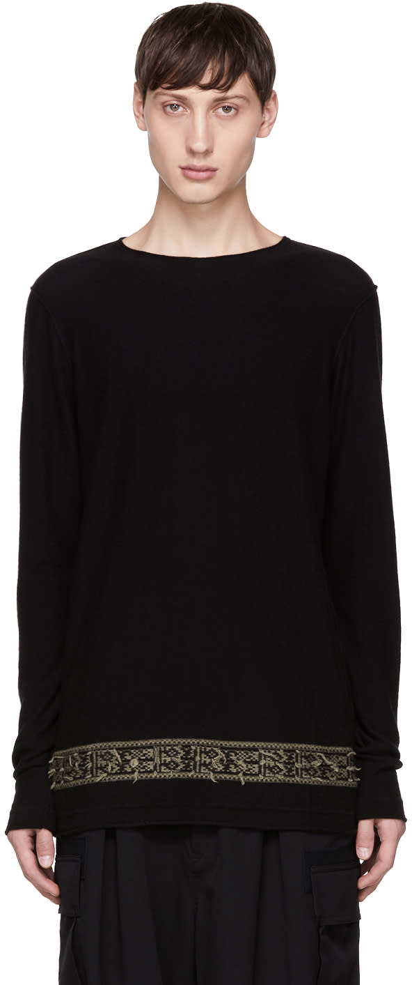 Image of Ziggy Chen Black Detailed Hem Sweater