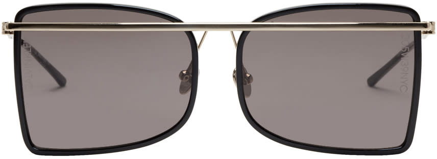 Image of Calvin Klein 205w39nyc Black and Gold Rectangular Brow Bar Sunglasses