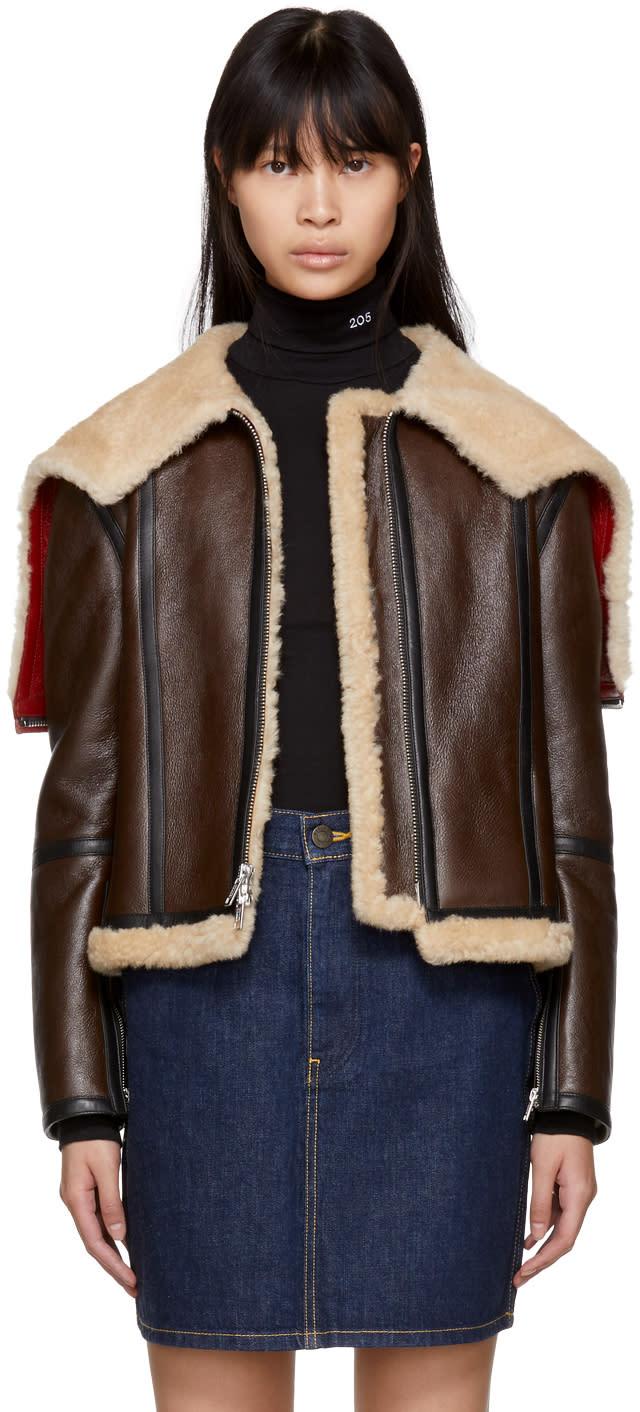 Calvin Klein 205w39nyc Brown Leather Aviator Jacket