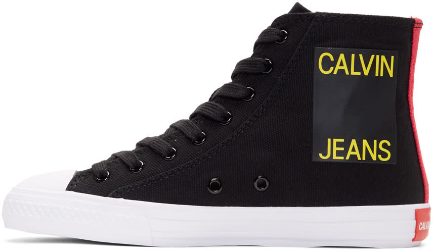 Image of Calvin Klein 205w39nyc Black Canvas Canter High-top Sneakers