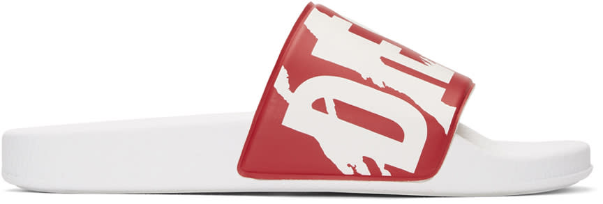 Diesel Red and White Sa-maral Slides