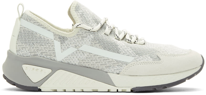 Diesel Grey and Off-white S-kby Sneakers