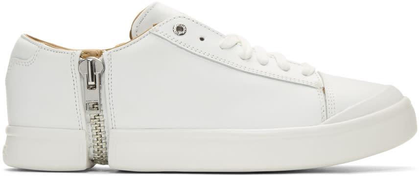 Diesel White S-nentish Zip Around Sneakers