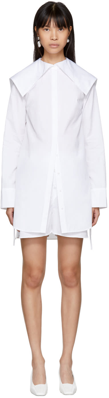 Image of Cecilie Bahnsen White Ally Shirt Dress