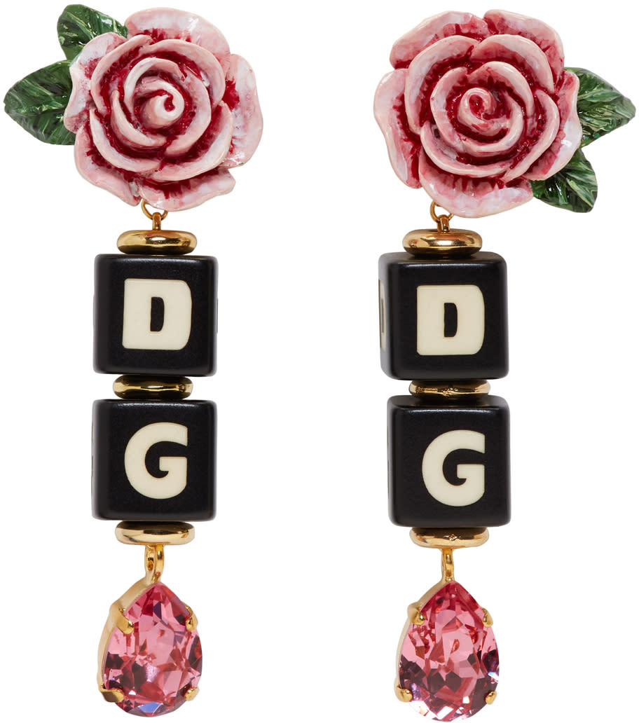Image of Dolce and Gabbana Black and Pink Dg Rose Clip-on Earrings