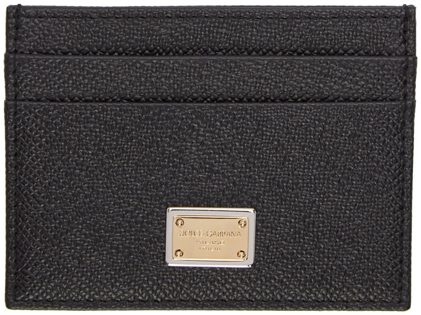 Image of Dolce and Gabbana Black and Gold Logo Card Holder