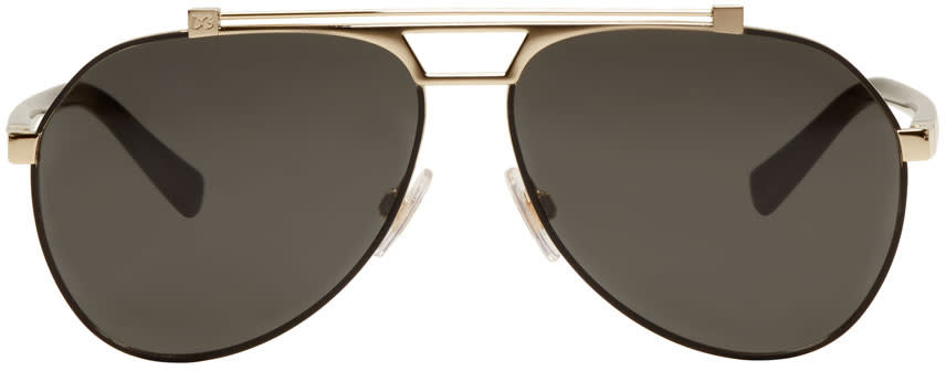 Image of Dolce and Gabbana Black and Gold Aviator Sunglasses