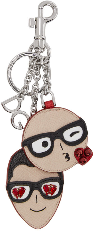 Image of Dolce and Gabbana Beige and Red Designer Heads Keychain