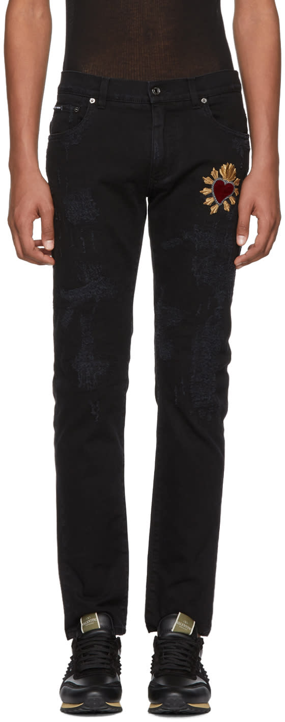 Dolce And Gabbana Black Skinny Distressed Jeans