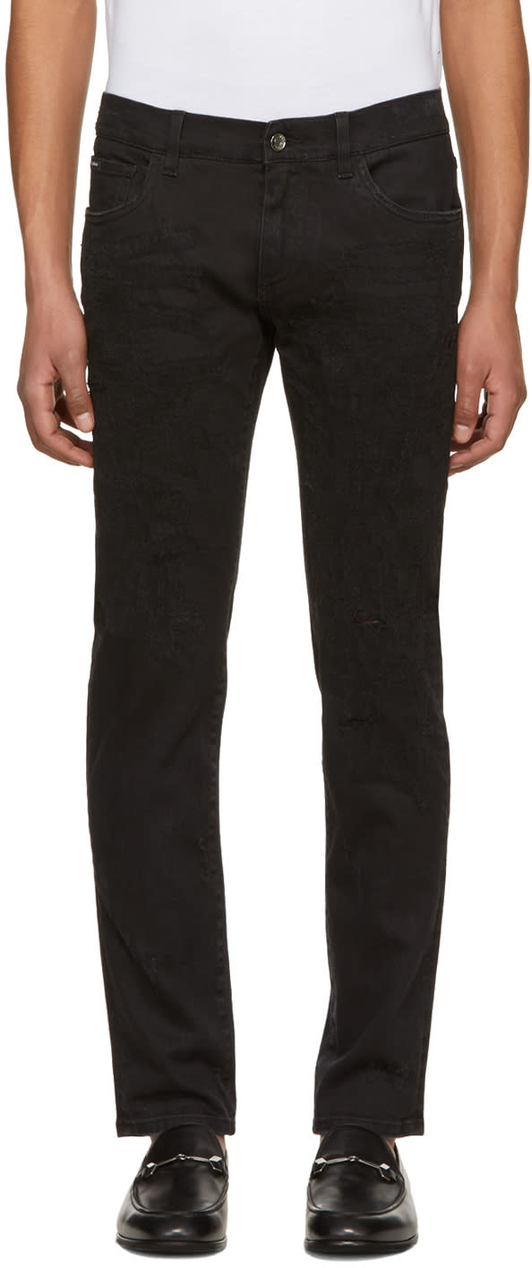 Dolce And Gabbana Black Heavy Distressed Skinny Jeans