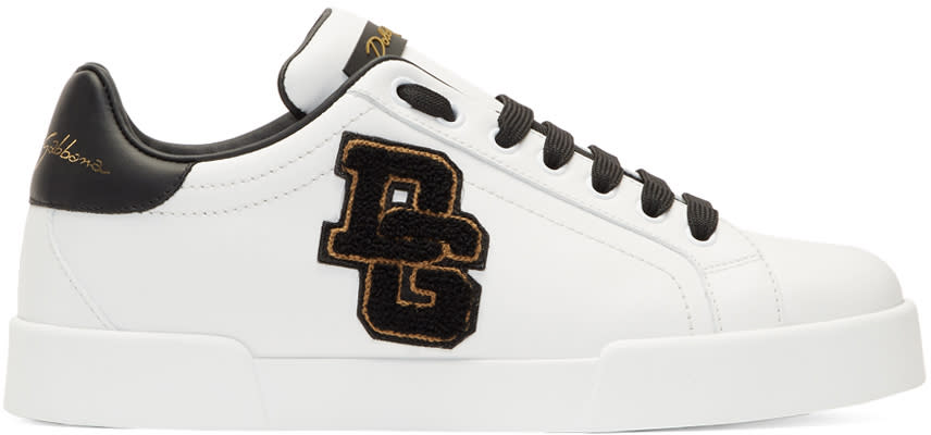 Dolce and Gabbana White and Black Embroidered Patch Sneakers