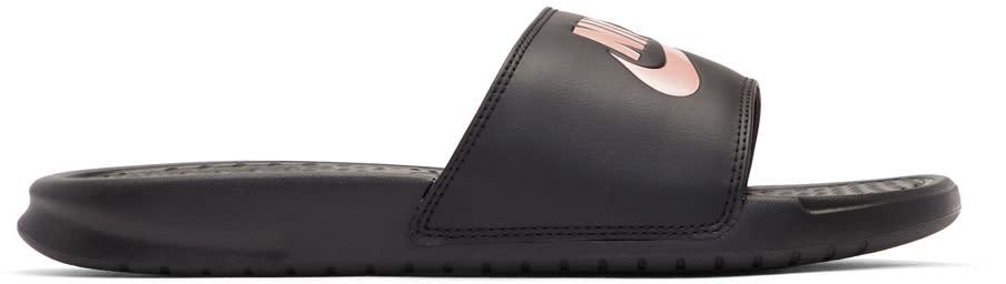Nike Black and Rose Gold Benassi just Do It Slides
