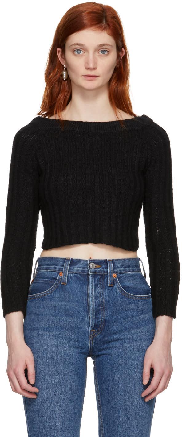 Image of The Elder Statesman Black Cashmere Cropped Off-the-shoulder Pullover
