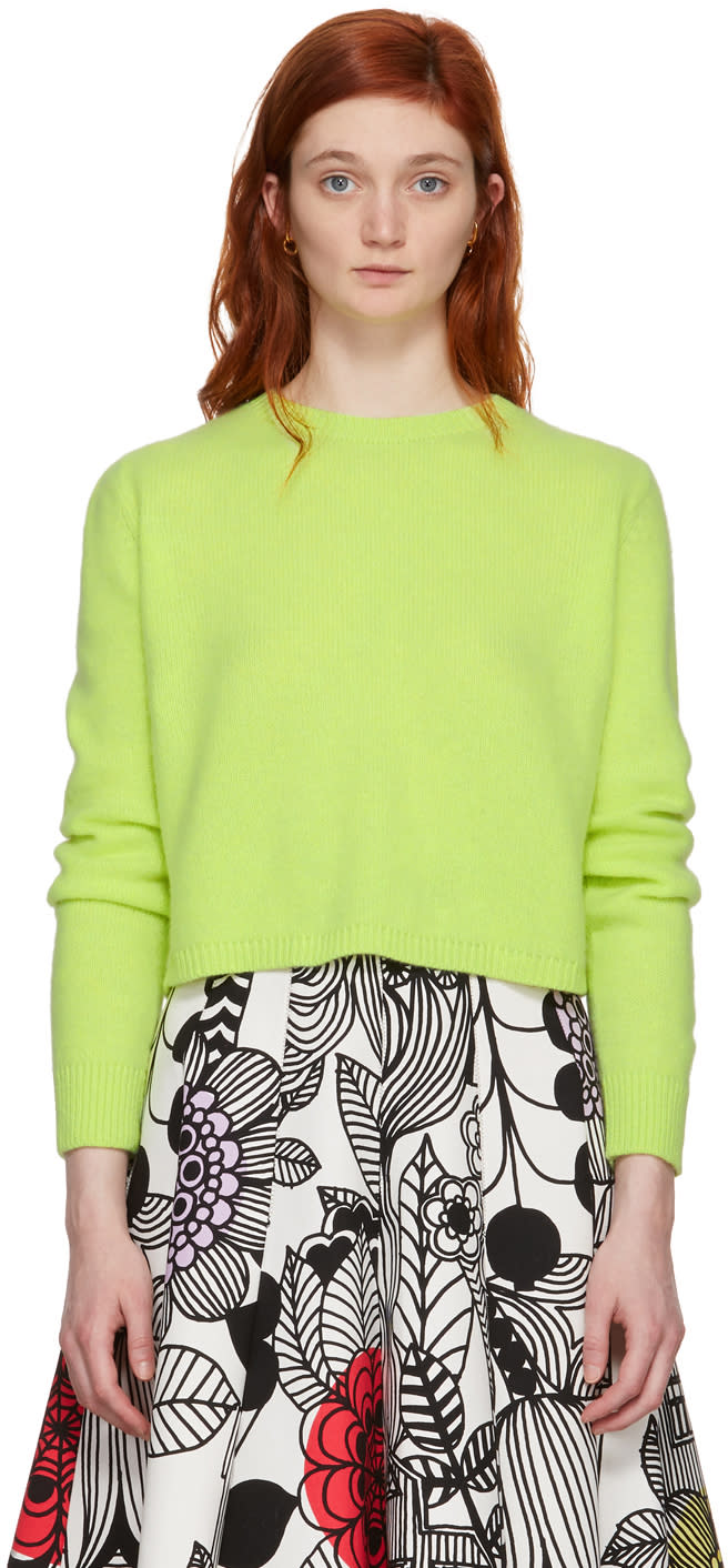 Image of The Elder Statesman Yellow Simple Cropped Crewneck Pullover