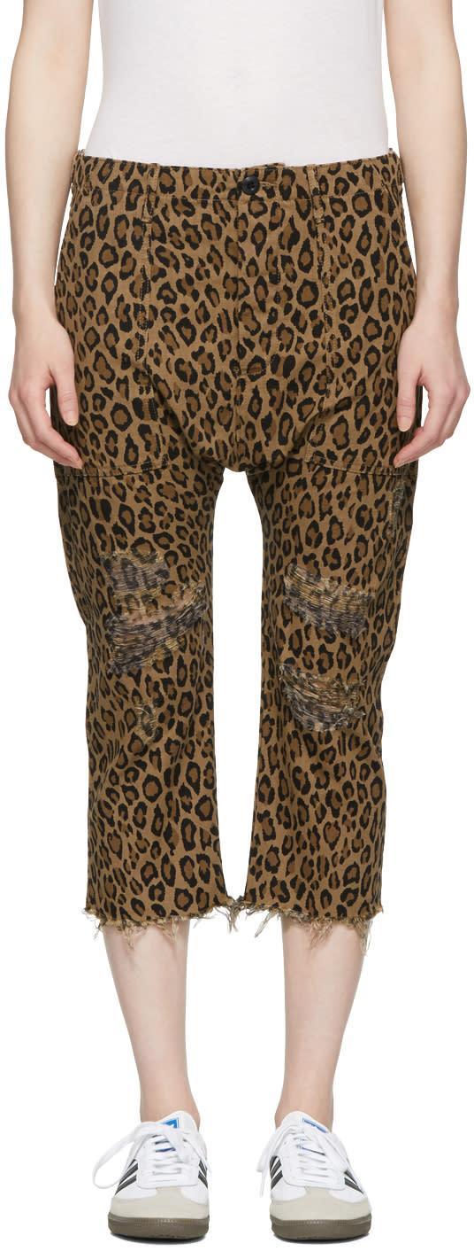 R13 Pantalon Léopard Brun Utility