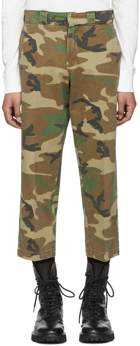 R13 Pantalon Camouflage Multicolore Slouch