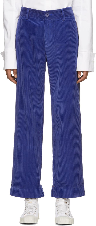 Ader Error Pantalon En Velours Côtelé Bleu Folded