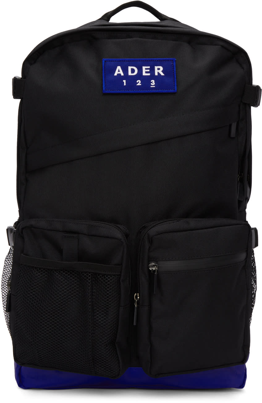 898c3a762a Ader Error Black and Blue Oversized Velcro Backpack
