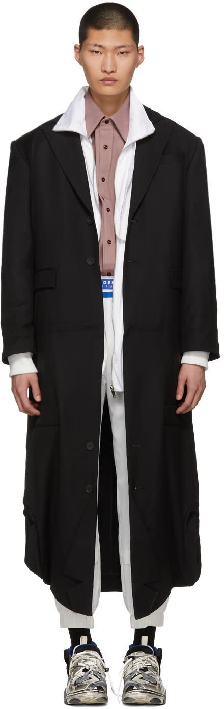 Ader Error Manteau Noir Fusion Double Coat