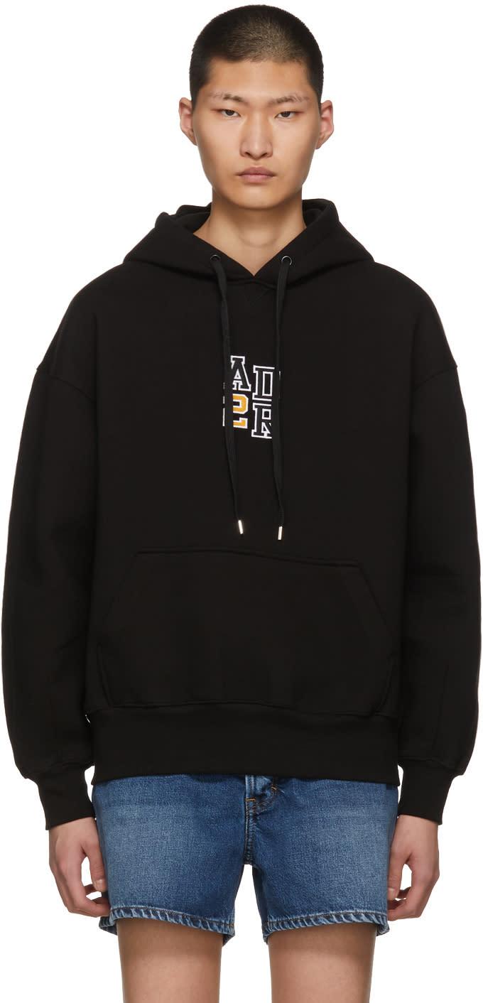 Ader Error Pull à Capuche Noir Oversized Logo