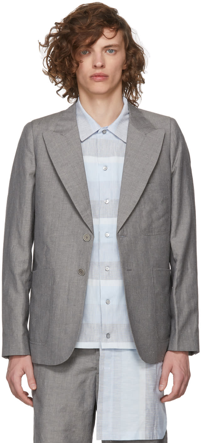 House Of The Very Islands Grey Slim-fit Tailored Blazer