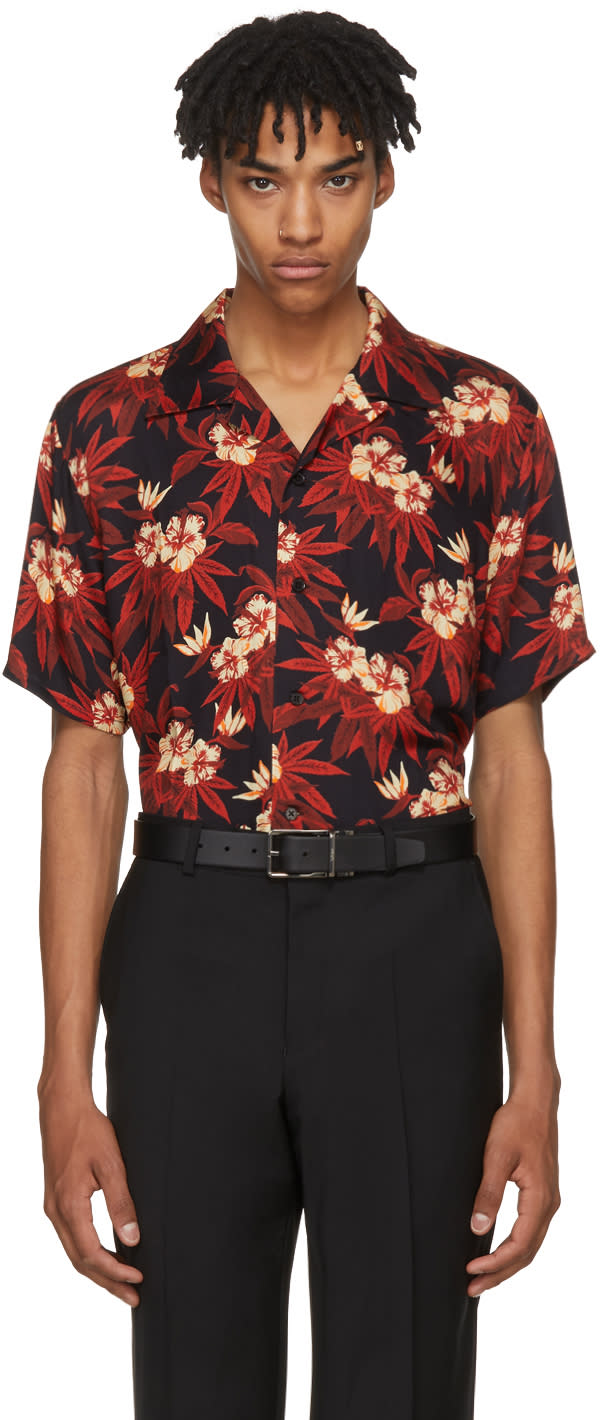 Image of Sss World Corp Red and Black Weed Hibiscus Magnum Hawaiian Shirt